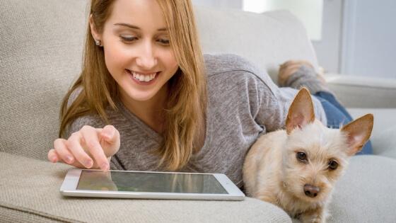 女性と犬が一緒にオンラインを楽しんでいる